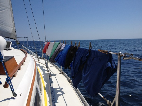 Doing laundry offshore while sailing is a breeze