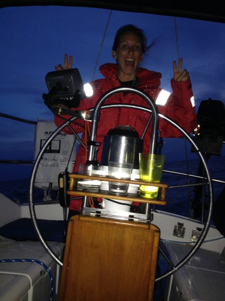 Mel at helm, sailing on her night watch