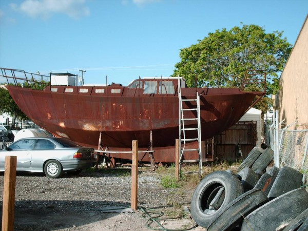 rusted sailboat