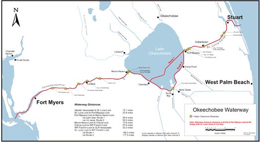 Okeechobee waterway routes
