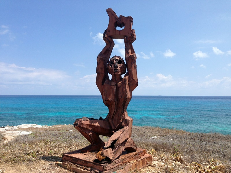 One of the artist sculptures at Punta Sur in Isla Mujeres