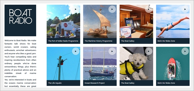 A glimpse of the Boat Radio home page